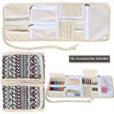 Teamoy Crochet Hooks Case, Canvas Wrap Organizer with Zippered Web Pockets for Various Crochet Needles and Knitting Accessories, Rolled-up and Easy to Carry, Bohemian (No Accessories Included)
