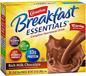 Carnation Breakfast Essentials Powder Drink Mix, Rich Milk Chocolate, 1.26 oz, 10 Count Envelopes (Pack of 6)