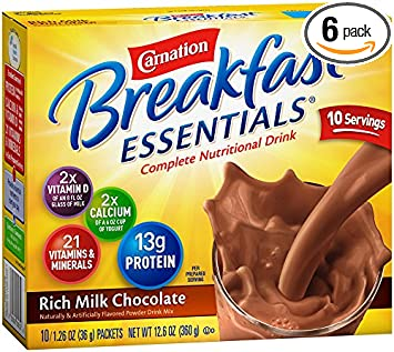 Carnation Breakfast Essentials Powder Drink Mix, Rich Milk Chocolate, 1.26 oz, 10 Count Envelopes (Pack of 6)