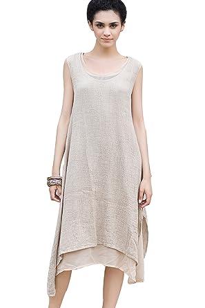 6d9c094320e Outline Women s Linen Double Layers Irregular Hem Sleeveless Maxi Dresses