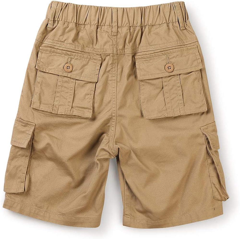 OCHENTA Boys Lightweight Pull on Cargo Shorts Cotton Casual Slacks