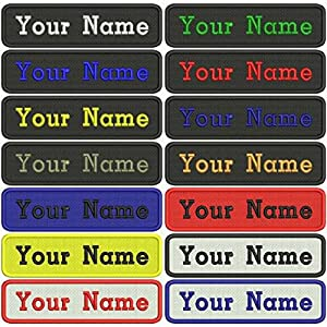 Custom Military Name Tapes,2 pcs Personalized Embroidery Patch Badges With Velcro