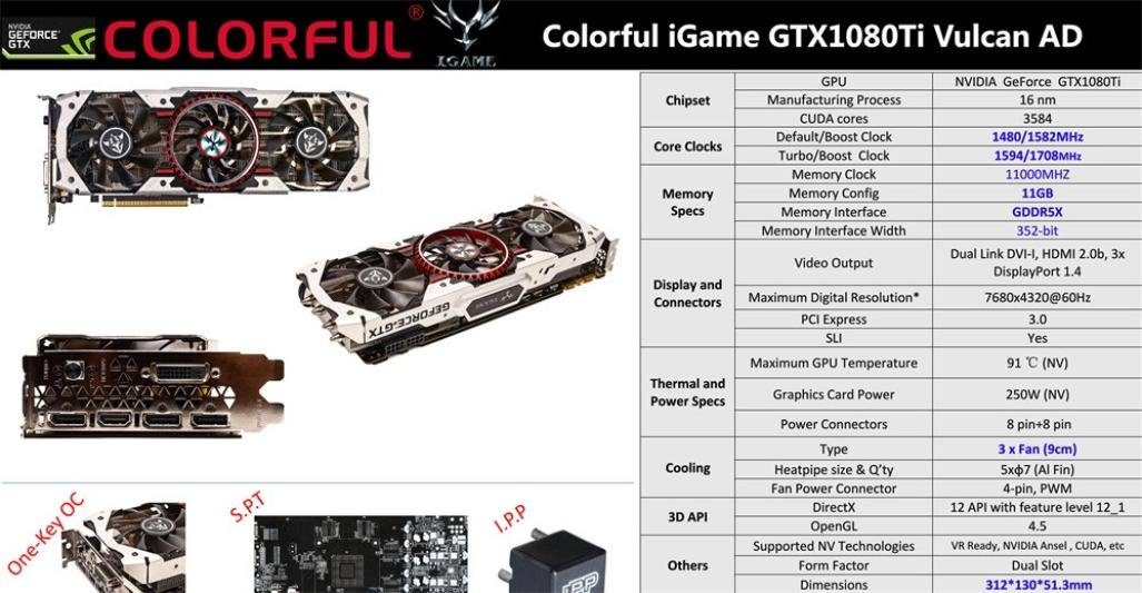 Amazon.com: Kaxu Colorful iGame GTX1080Ti Vulcan AD 11GB Video Graphics Card 1594/1708MHz for NIER: GPS & Navigation