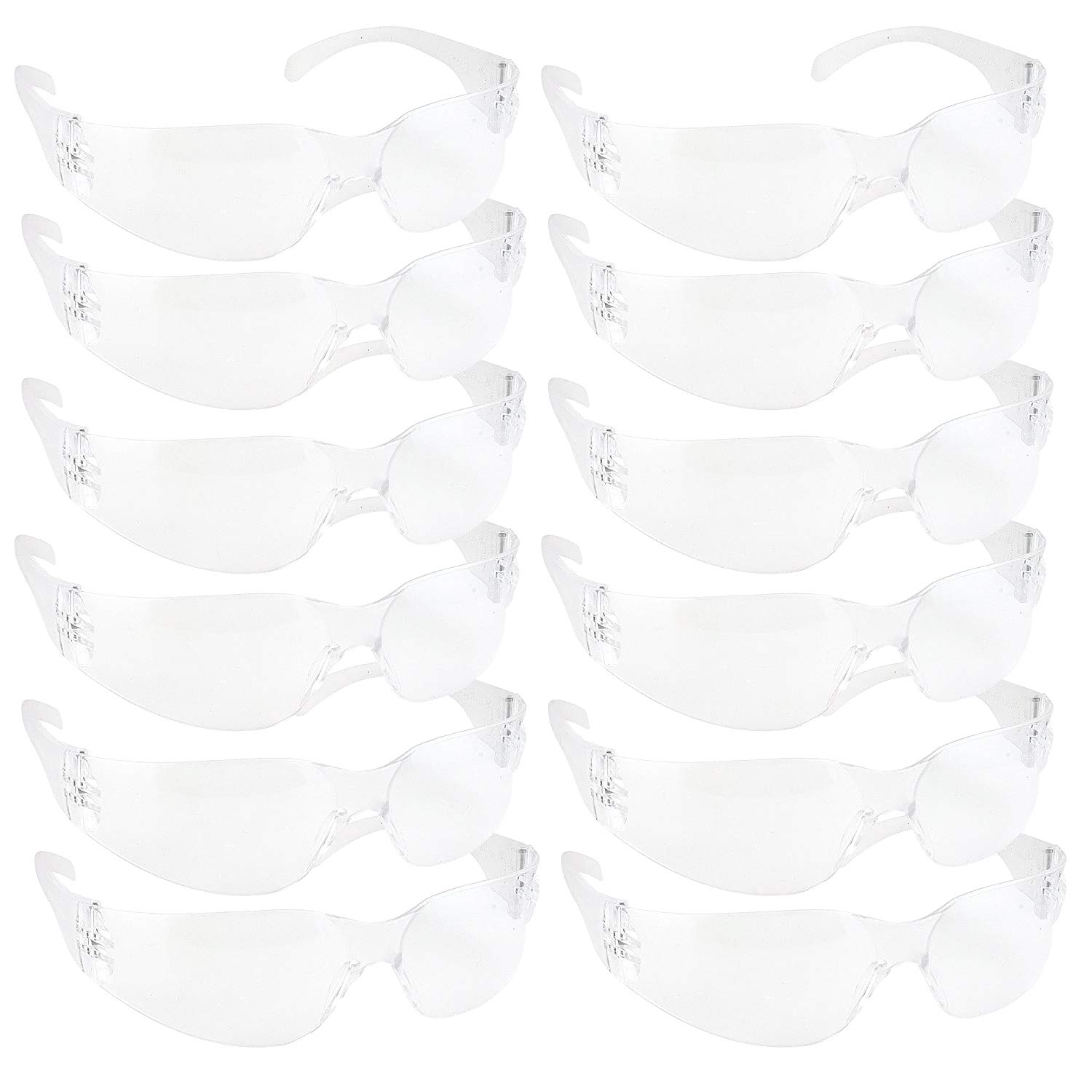BISON LIFE Safety Glasses, One Size, Clear Protective Polycarbonate Lens, 12 per Box (1 box) by BISON LIFE