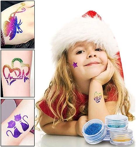 Kit de Tatuajes Temporales, Wanxida Nuevo Brillo Tatuajes Kit ...