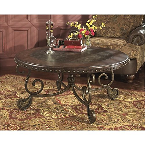 Ashley Furniture Signature Design - Rafferty Coffee Table - Cocktail Height - Round - Dark Brown (Gold Tables Occasional Finish)