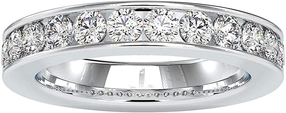 Anillo de boda de eternidad con certificado SGL de 1,33 quilates, con piedra preciosa vintage, anillo de compromiso simple a juego, 10K Oro