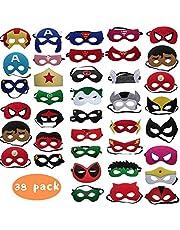 DREAMWIN 38 Piezas Máscaras Superhéroe, Máscaras de Cosplay de Superhéroe, Máscaras para Niños y Adultos
