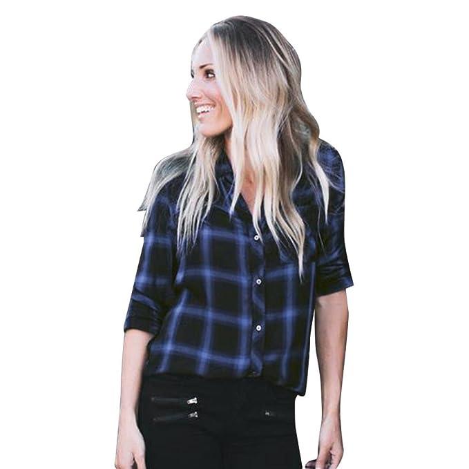 Culater® Camisa a Cuadros Mujer Manga Larga Blusa (S, Azul)