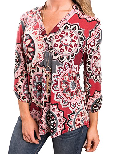 Red 3/4 Sleeve Top - 7
