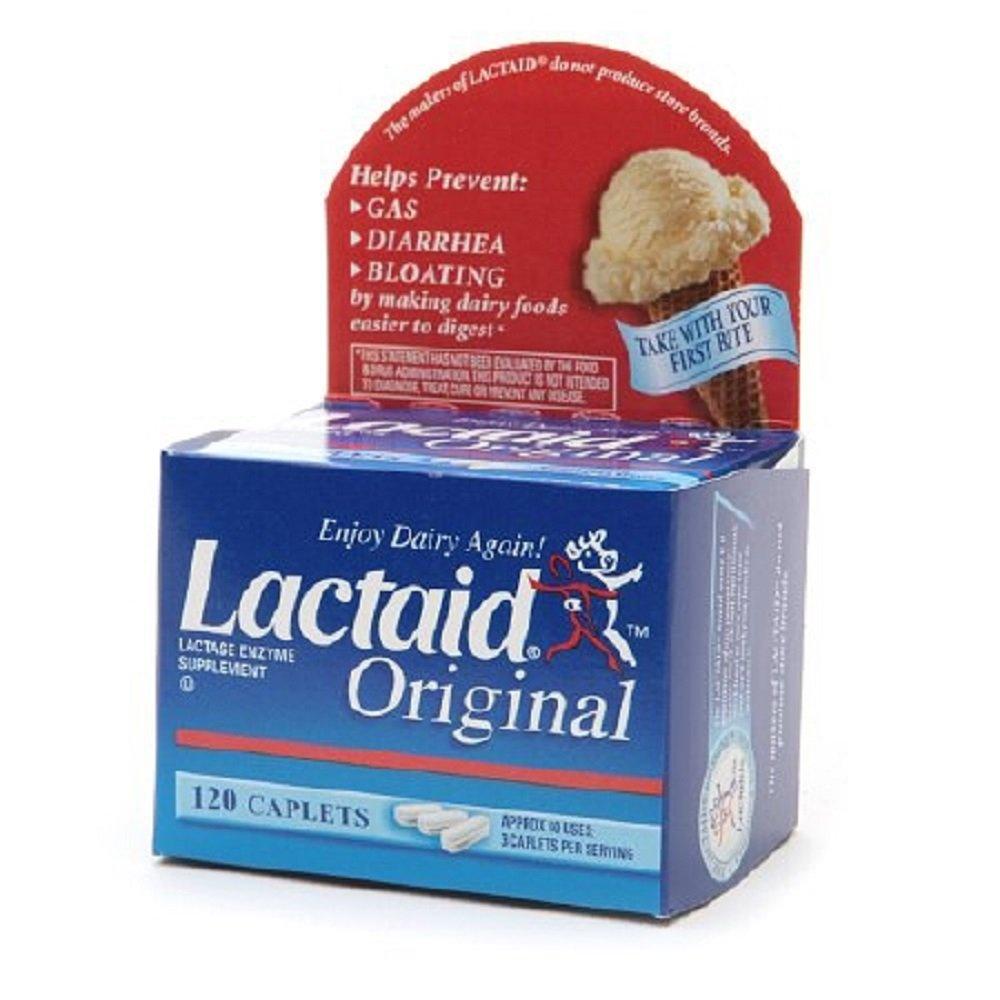 Lactaid Original - Lactase Enzyme Supplement - 5 mg / 9000 FCC Units Strength - Caplet - 120 per Box - McK by Lactaid Original