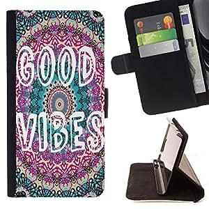 - Good Vibes - - Prima caja de la PU billetera de cuero con ranuras para tarjetas, efectivo Compartimiento desmontabl FOR LG G2 D800 Lady Case