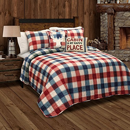 5 Piece Red Cabin Theme Full Queen Quilt Set, Blue Checked Squares Checkered Pattern Bedding Tartan Madras Plaid Lodge Rugby Stripes, Reversible Rustic French Country Mid Century,Cotton by Unknown