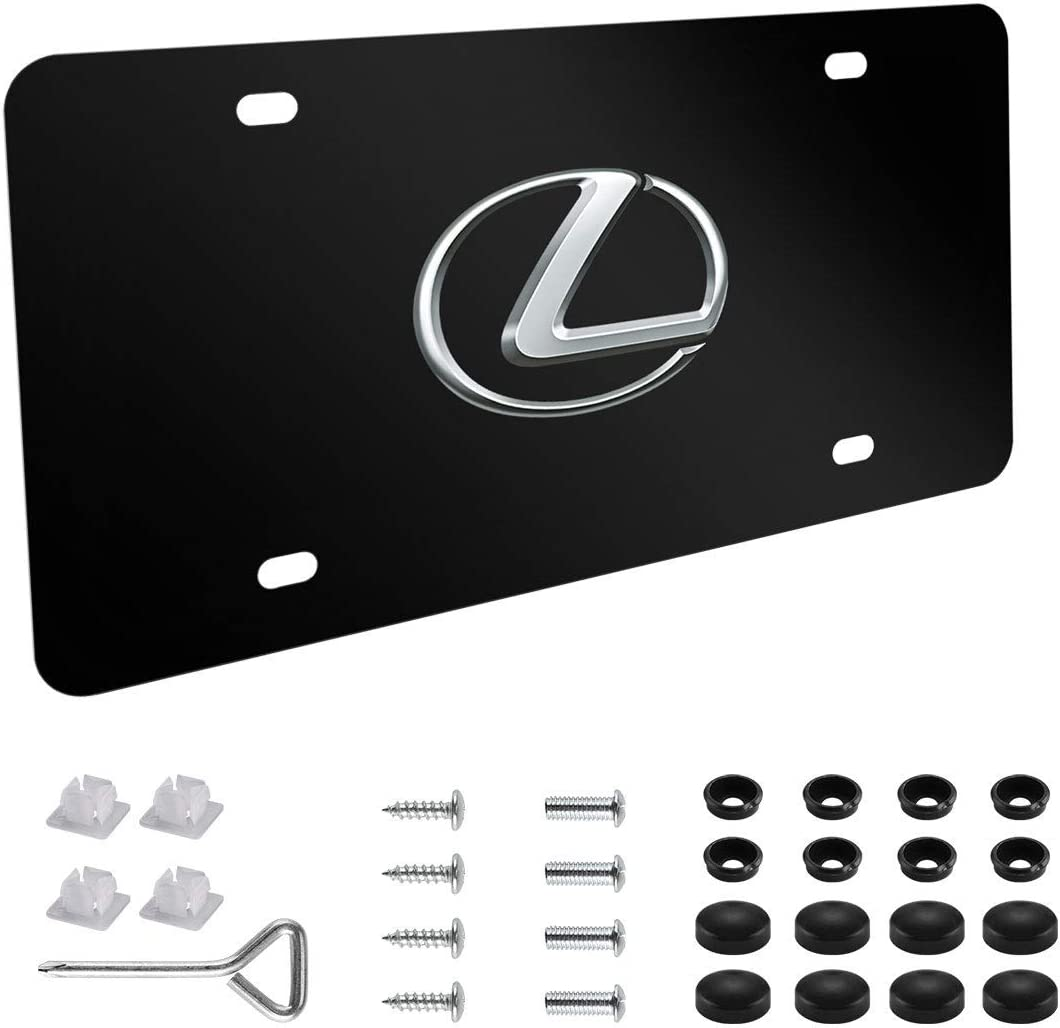 License Plate Frames 2pcs for Acura Black Matte Aluminum License Plate with Screw Caps Upscale Black for Acura Front and Rear License Plate