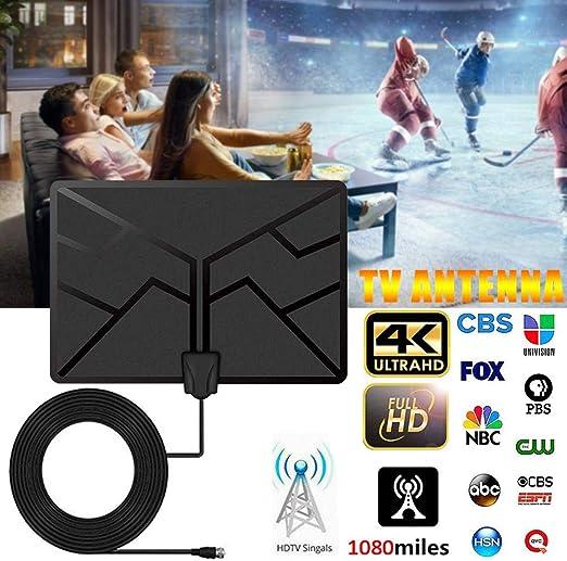 heling896 TV Antena, 1080 Millas 4K HDTV Digital Antena de TV Interior con Amplificador de señal Radio de TV Antena Surf Fox Antenas de TV HD: Amazon.es: Hogar