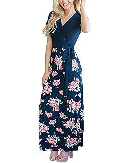 ea5482b4584 YOMISOY Womens Summer Maxi Floral Short Sleeve Wrap V Neck Empire Waist  Long Dress with Pocket