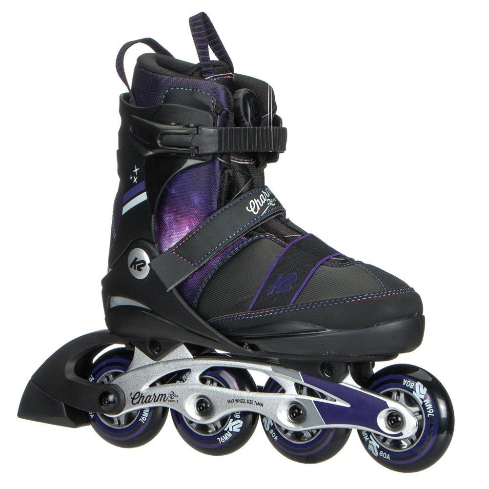 K2 Skate Charm Boa Alu Inline Skates, Black Purple, Size 4-8