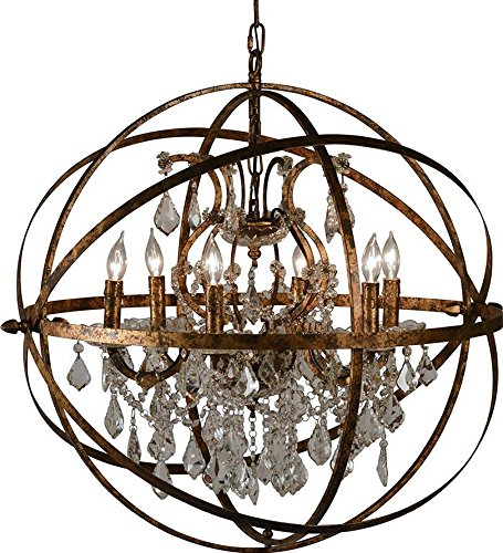Chandelier Pendant DOVETAIL NICE 6-Light Antique Gold Clear Hand-Cut Cry by Dovetail Furniture