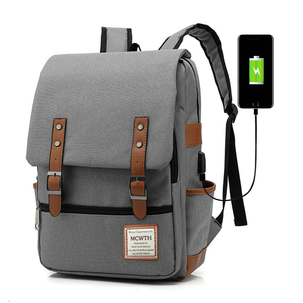 MCWTH Travel Laptop Backpack, Business Slim Durable Tablet Backpack with USB Charging Port,Water Resistant College Student School Computer Bag for Women & Men Fits 15.6 inch Laptop and Notebook Grey