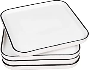 Eglaf 10'' Ceramic Square Dinner Plates - Black Edge Porcelain Dish for Salad, Pie, Steak, Pizza, Pasta - Family Dining, Party, Entertain Guests, Restaurant Serving Plates (Set of 4)