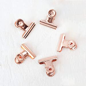 Small Bulldog Paper Clips, Coideal 30 Pack 0.87 Inch Metal Binder Clips File Paper Money Clamps for Tags Bags, Shops, Office and Home Kitchen (Rose Gold, 22mm)