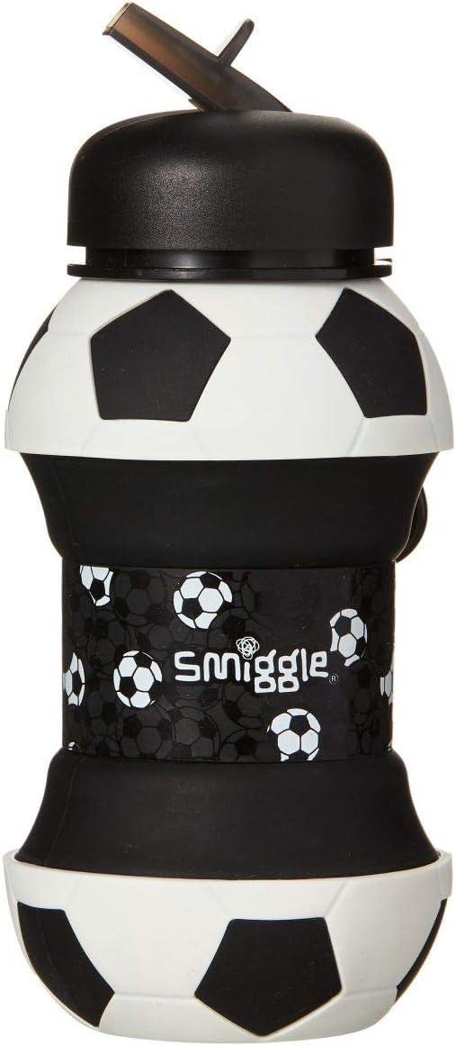 Smiggle Goal, botella de agua rellenable para niñas y niños con cuerpo comprimible y 500ml de capacidad | Con dibujos futbolísticos