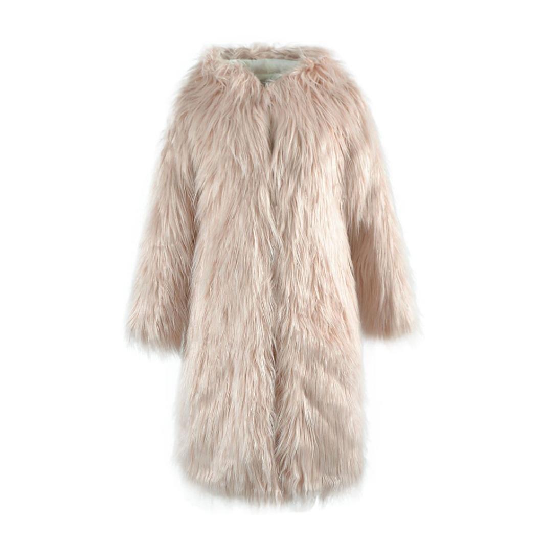 BESSKY Womens Faux Fur Hooded Coat Outerwear Overcoat Long Jacket Parka