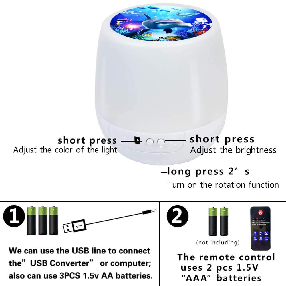 Table Lamps 18 Songs 6-Films Infant Sound Soother Sleep Machine 360/° Rotating LED Projector Nightlight Speaker with Music Player Timer White XGu-002 KISTRA Remote Night Light for Kids Room