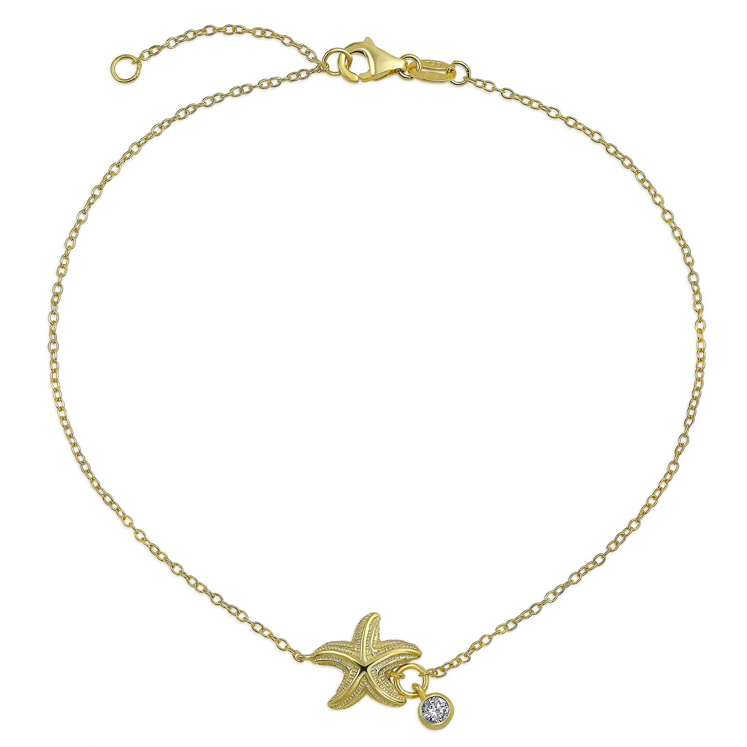 Bling Jewelry Gold Plated .925 Silver Nautical Starfish Anklet CZ Charm 9in PFS-54-0362-G