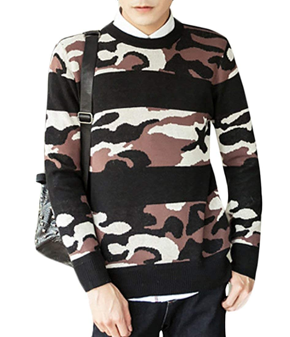 Alion Mens Various Colors Camo Print Long Sleeve Crewneck Pullover Knitted Sweater