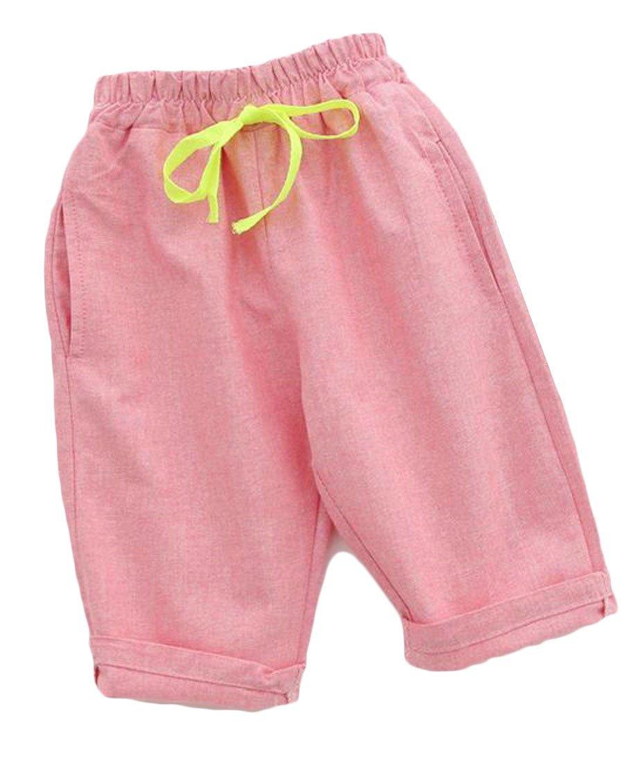 Pivaconis Boy Bermuda Cotton Linen Casual Waist Drawstring Solid Half Short Pants Pink 5T