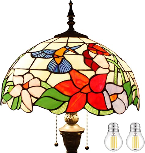 Tiffany Style Floor Standing Lamp W16H64 Inch Tall Stained Glass Hummingbird Design Lampshade 2E26 Antique Reading Light Resin Base S101 WERFACTORY Lamps Bedroom Living Room Bedside Table Lover Gifts