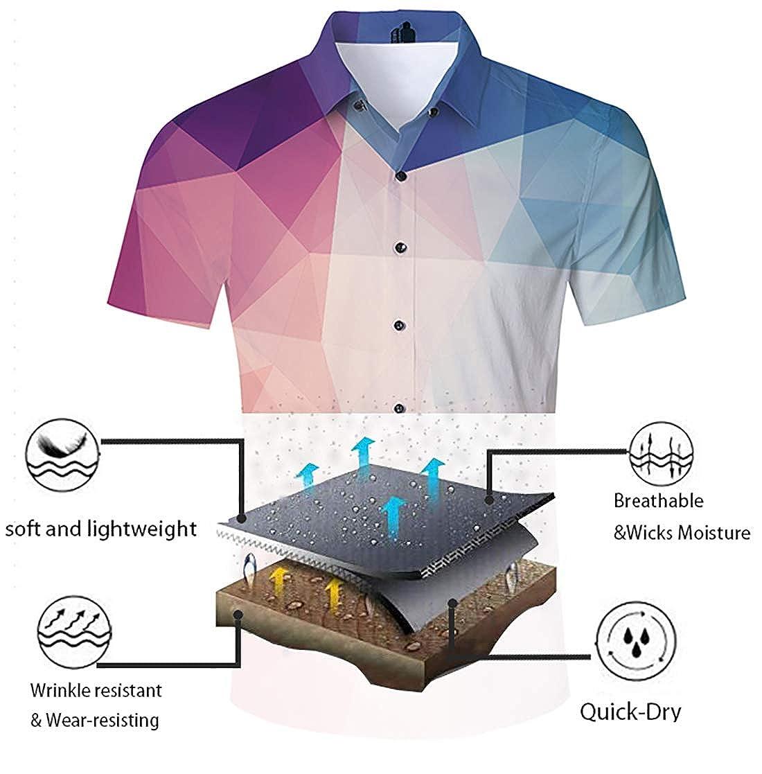 Jubestar Mens Hawaiian Shirt 3D Tropical Summer Aloha Short Sleeve Button Down Shirt