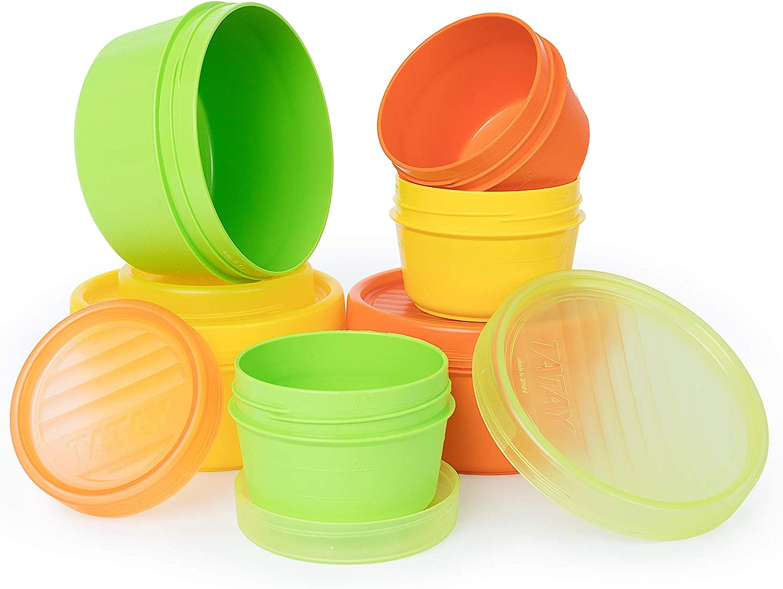 Lote de 6 Contendores Portafruta en Plástico PP Libre de BPA de 0.5 y 0.2L. Ideal Para Fruta o Papilla. Colores Surtidos