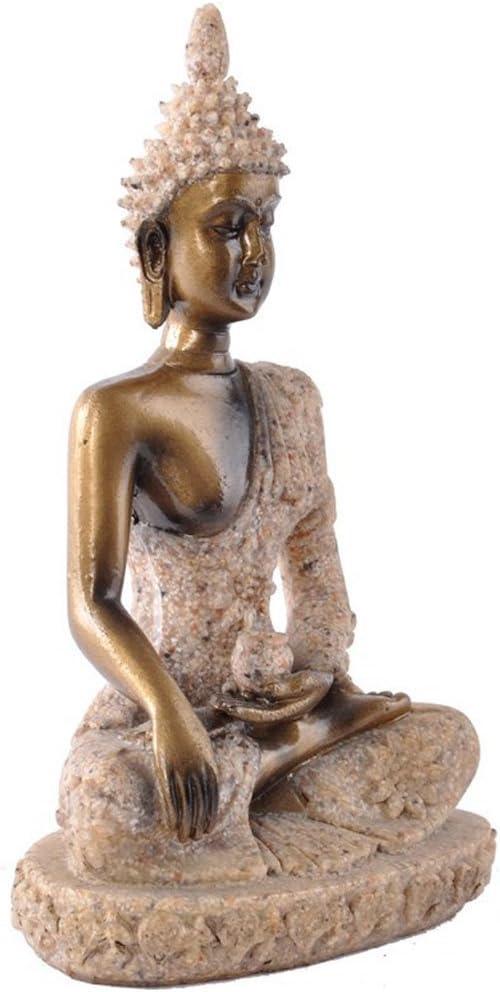 7,5 x 5 x 11 cm FLAMEER 2X Bouddha Statue de Gr/ès Sculpture Figurine Objets de D/écoration