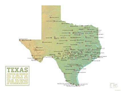 Amazon.com: Best Maps Ever Texas State Parks Map 18x24 Poster (Green ...