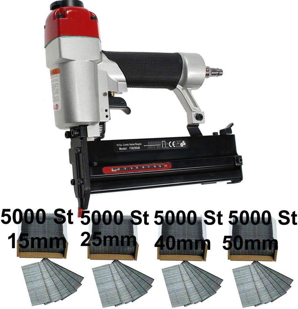 20000 Stifte 15,25,40,50 mm Druckluft Kombi Tacker Nagler 40//50