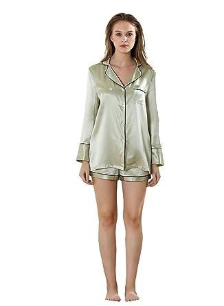 17cb2e7822 Vividmoo Women s 19 Momme Satin 100% Mulberry Silk Two Piece Boy Short Bottom  Pajama Set