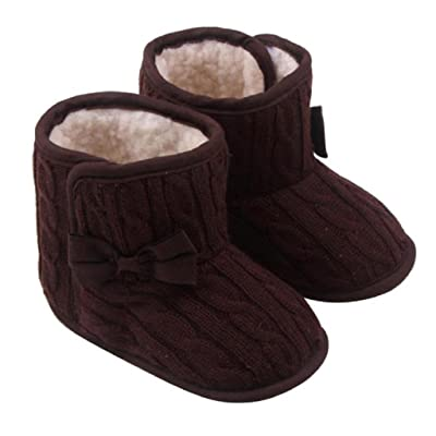 Anboo Baby Toddler Winter Warm Knitted Shoes Bowknot Soft Sole Snow Boots
