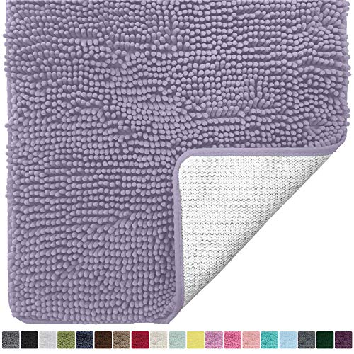 Gorilla Grip Original Luxury Chenille Bathroom Rug Mat, 24×17, Extra Soft and Absorbent Shaggy Rugs, Machine Wash Dry, Perfect Plush Carpet Mats for Tub, Shower, and Bath Room, Light Purple