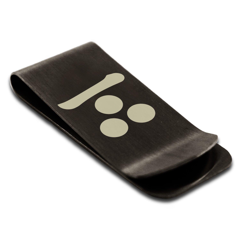 Stainless Steel Mouri Samurai Crest Engraved Money Clip Credit Card Holder