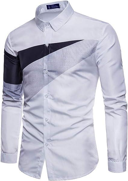 ZODOF camisa hombre camisas sport Casual Pure Color estampadas algodon manga larga Shirts Tops Slim Fit Camisas Blusa Tops Moda para hombre camisa hombre verano(L,Blanco): Amazon.es: Instrumentos musicales