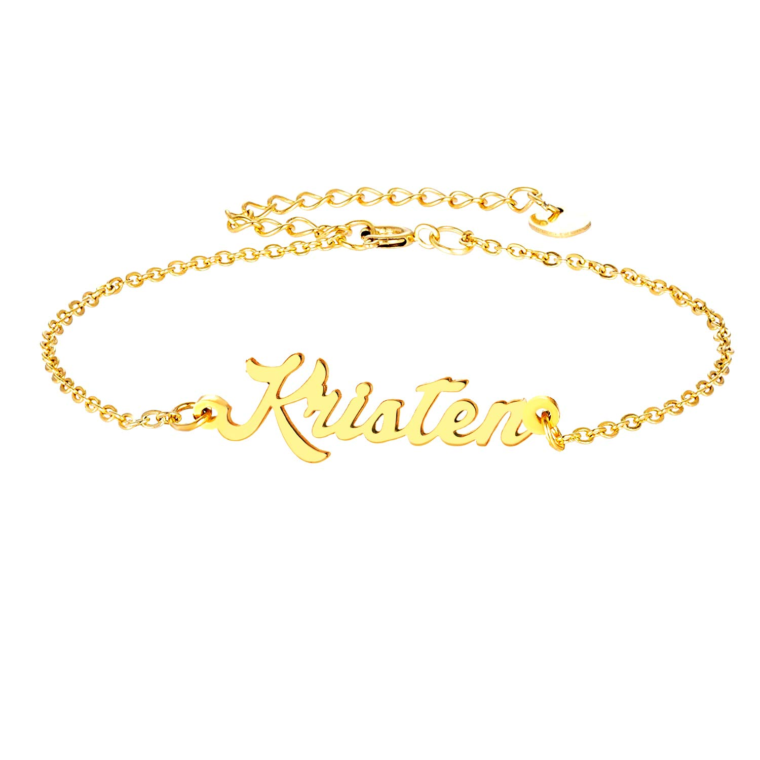 Name Plate Link Bracelet Anklet Custom Made Jewelry in Any Name Gift for Women Girls YINSHIFU Personalized Name Bracelet