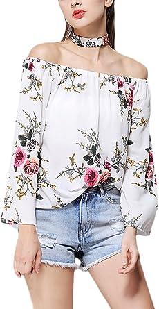 HaiDean Mujer Camisas Chiffon Vintage Moda Floreadas Blusa De ...