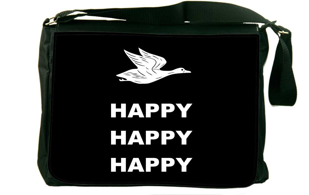 Rikki Knight Happy Happy Happy White on Black Messenger Bag School Bag