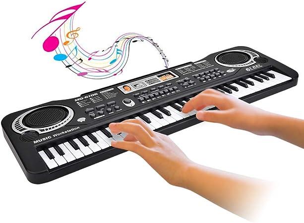 Piano electrónico para niños, teclado eléctrico digital de 61 teclas Teclado con micrófono Enchufe de la UE Juguete de teclado de piano de enseñanza ...