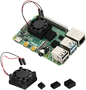 Raspberry Pi 4 Model B CPU HeatSinks Single Cooling Fan with RAM LAN USB Chip Heatsink Set