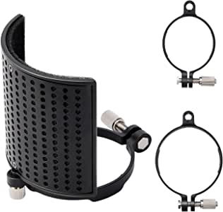 Pop Filter, Moukey MPFUBK [Upgraded Three Layers] Metal Panel & Metal Mesh & AdvancedFilterFoam Layer Microphone Windscreen Cover Handheld Mic Shield Mask, for BLUE YETI, AT2020, AT2050