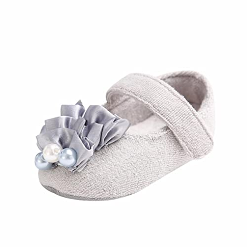 Clode® Neugeborenes Baby Blumen Perlen feste rutschfeste weiche Prinzessin  Shoes Sneaker (3-6