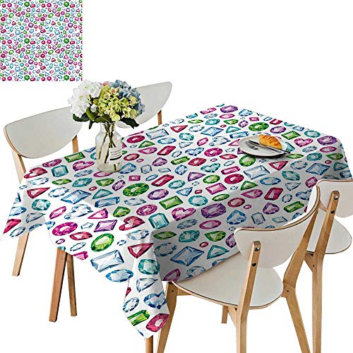 UHOO2018 Decorative Tablecloth Heart and Geometrical Shaped Colorful Little Diamonds Precious Gemstones Crystals Pattern Square/Rectangle Kitchen Tablecloth Picnic Cloth,50 x 72inch (Stone Heart Precious)